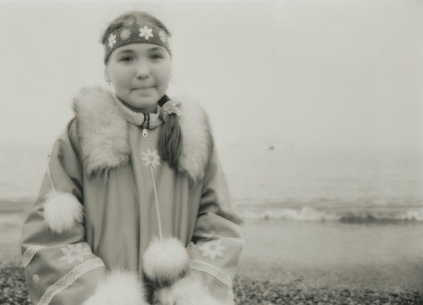 2008; Inuit Settlement with local girl in traditional clothes, Lorino Village (Chukotskiy Peninsular) Russia, Asia