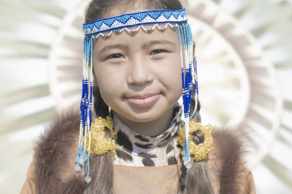 Inuit young Female of Koryaks peoples in native clothes, Ossora Village (Koryakskiy Peninsular) Russia, Asia
