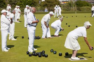 Old people playing bowls at Penzance in West Cornwall, UK.